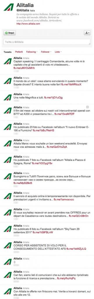 timeline Twitter Alitalia