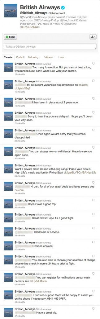 Timeline di British Airways su Twitter