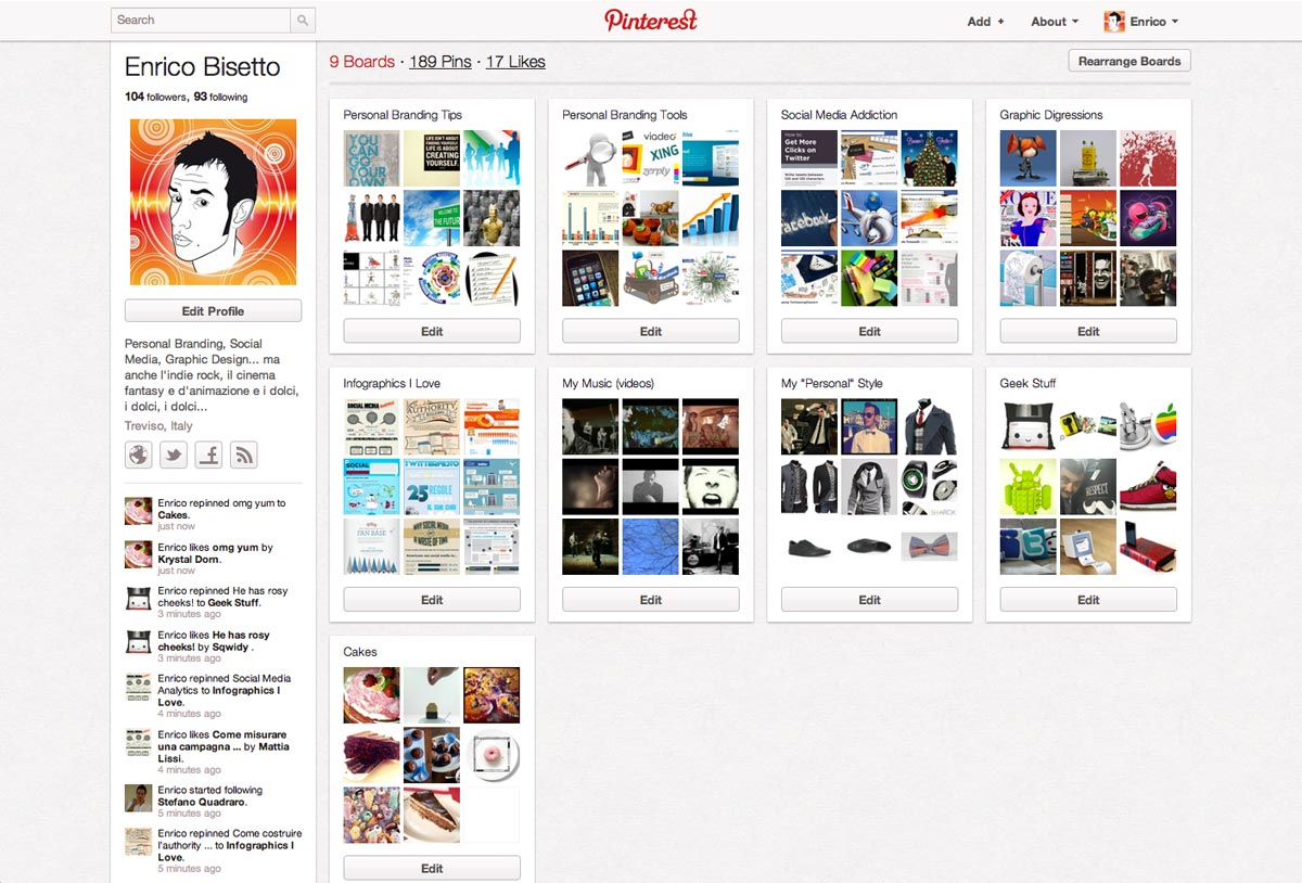 Profilo Pinterest Enrico Bisetto